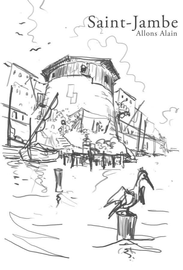Croquis de Sébastien Brunel la tour Martelot de la rue Lavigeur, vue après une fulgurante montée des eaux